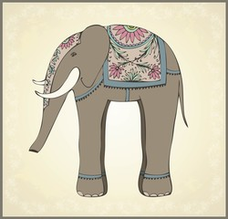 Greeting card with the Indian elephant.