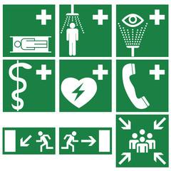 Rettungszeichen Schilder Set