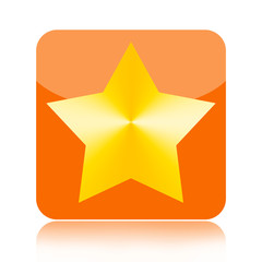 Golden star button isolated on white background