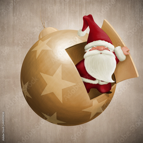 Santa Claus inside the decorative ball