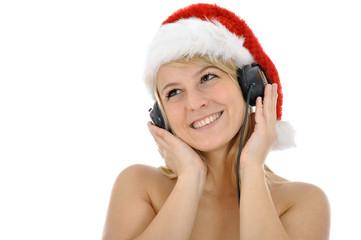 Weiblicher Weihnachtsmann mit Kopfhörern