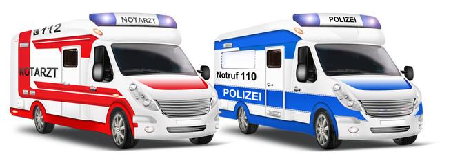 Rettungswagen, Polizei - Einsatzwagen