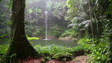 Waterfall at borneo rainforest in rainy day