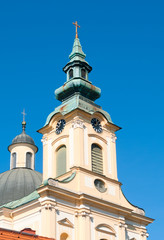 Baroque bell tower from a catholic church in Linz, Upper Austria