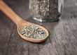 oregano in an old wooden spoon
