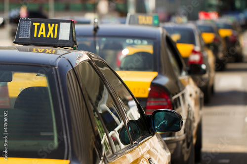Barcelonese taxi's waiting for clients