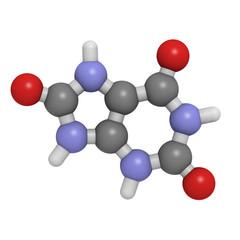 Uric acid molecule, chemical structure