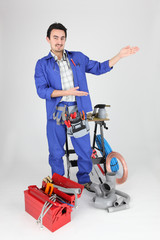 plumber showing with his hands