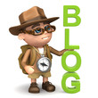 "3d Adventurer stands next to the word ""Blog"""