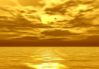 黄金に輝く海
