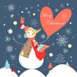 jolly snowman with heart