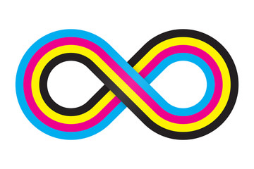 Abstract cmyk infinity. Vector illustration.