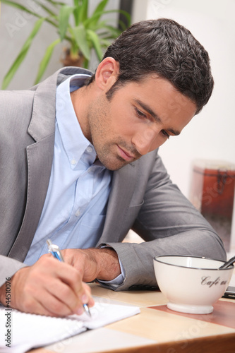 Businessman home working