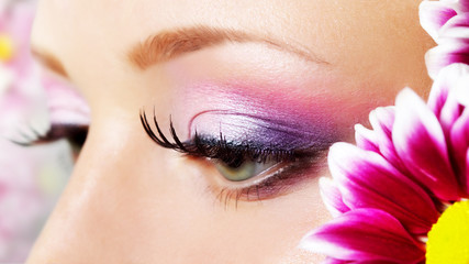 Eye closeup with makeup.