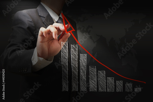 businessman hand touch virtual graph,chart