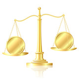 Coin outweighs another coin on scales. poster