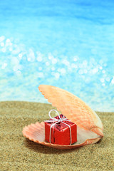 Gift box in a sea shell on the beach