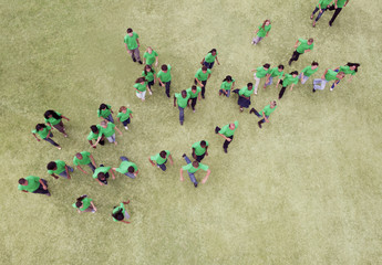 People in green t-shirts walking in field