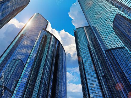 Niebieskie budynki biznesowe