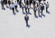 Businessman leading business people