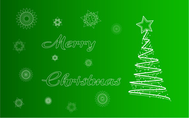 Merry christmas card with tree and snowflakes Vector