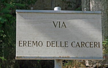 Sign of the eremo delle carceri of San Francesco at Assisi