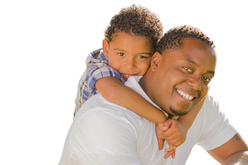 Mixed Race Father and Son Playing Piggyback On White