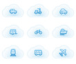 Transport web icons, cloud buttons