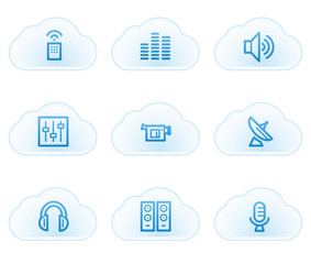 Media web icons, cloud buttons