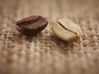 Close up of light and dark coffee beans