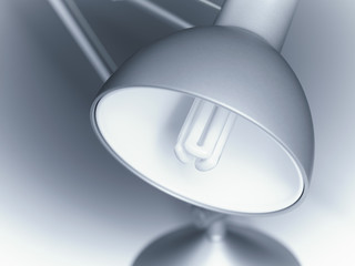 Close up of lamp with compact fluorescent light bulb