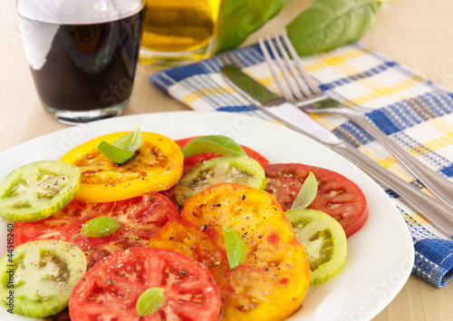 Heirloom tomatoes with olive oil and balsamic vinegar