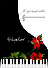 Template greeting card with piano and flower or cover for notes.