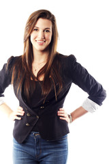 Portrait of young woman wearing blazer