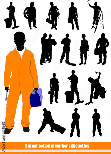 People silhouettes. Big collection of workers in action. Vector