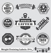 Vector Set: Weight Lifting Labels and Badges