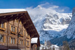 Hotel near the Grindelwald ski area. Swiss alps at winter