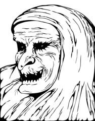 Witch Baba Yaga Portrait-Epiphany-Strega Befana-Vector