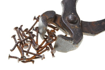 Old rusty pincers and nails on a white background