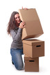 woman and boxes