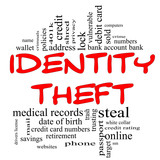 Identity Theft Word Cloud Concept in red & black poster