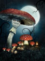 Baśniowe grzyby z czaszkami nocą