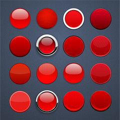 Red round high-detailed modern web buttons.