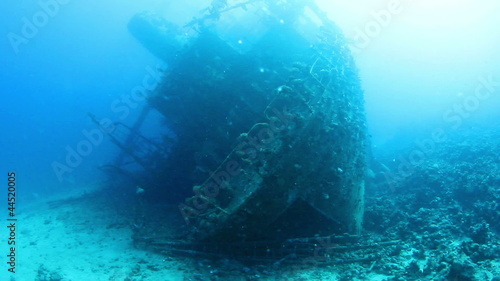 Ship wreck Carnatic underwater view. Red Sea.