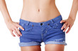 Woman in jeans shorts
