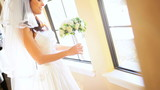 Beautiful Bride in Wedding Dress Home