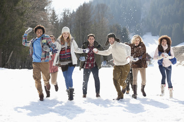 Smiling friends throwing snowballs in field