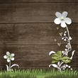 paper flowers on wooden board background