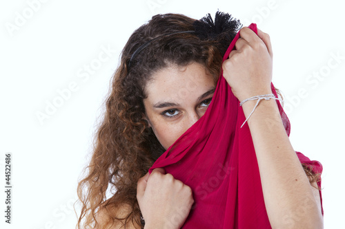 .Woman wrapped with a red tissue..