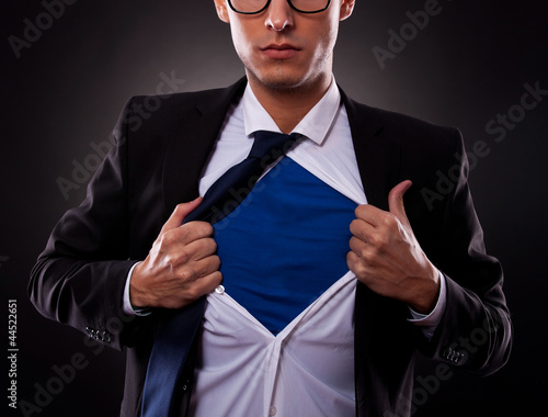 Cropped view of super business man